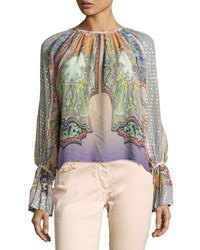 Etro Paisley Flocked Peasant Blouse Lilac Peach