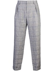Maison Kitsune Joe Checked Trousers Blue