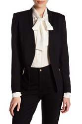 Carmen Carmen Marc Valvo Long Sleeve Blazer With Zip Pockets Petite Black