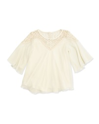 Elisa B Gold Dust Lace Trim Boho Top Ivory
