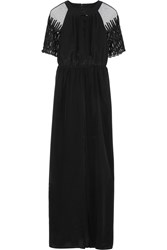 Alice By Temperley Everette Tulle Paneled Silk Crepe De Chine Maxi Dress Black