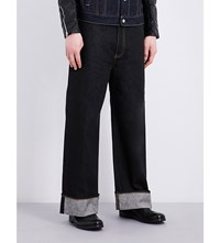 Junya Watanabe Turn Up Cuff Wide Leg High Rise Jeans Black