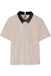 Band Of Outsiders Leather Trimmed Checked Stretch Cotton Top White