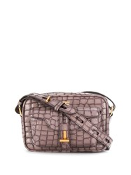 Tom Ford Croco Embossed Shoulder Bag Brown