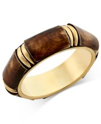 Macy's Gold Tone Geometric Wood Bangle Brown