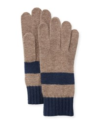 Portolano Colorblock Knit Gloves Nile Brown Blue