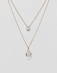 Aldo Praesa Delicate Leaf Layering Necklace In Silver Clear On Rhodium