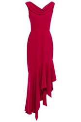 Reem Acra Woman Asymmetric Draped Crepe Maxi Dress Crimson