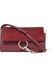 Chloe Faye Mini Leather And Suede Shoulder Bag Plum