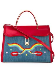 Olympia Le Tan Smoking Lips Embroidered 'Marguerite' Tote Blue
