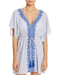 Ralph Lauren Embroidered Tunic Swim Cover Up Blue