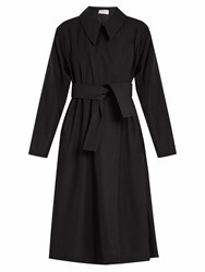 Christophe Lemaire Tie Waist Wool Blend Twill Trench Coat Navy
