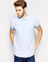 Minimum Oxford Shirt With Dobby Short Sleeves Blue