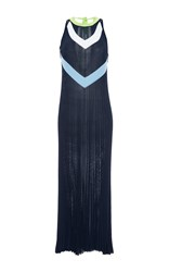 Versace Chevron Sleeveless Knit Midi Dress Blue White Green