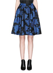 Alice Olivia 'Earla' Floral Metallic Brocade Flare Skirt Blue