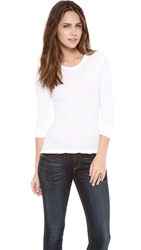 James Perse Long Sleeve Slub Crew Tee White