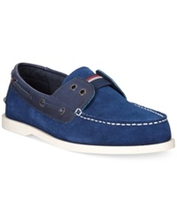 Tommy Hilfiger Bullhead Suede Boat Shoes Men's Shoes Blue Navy