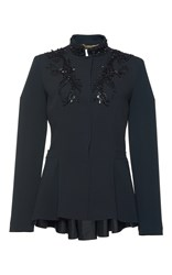 Alberta Ferretti Beaded Embroidered Peplum Jacket Black