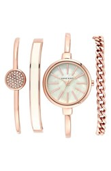 Women's Anne Klein Round Watch And Bangle Set 32Mm Rose Gold Ivory