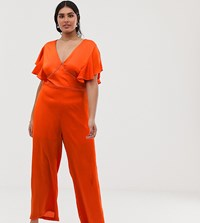 Lovedrobe V Neck Jumpsuit With Wide Leg And Lace Insert Detail In Orange