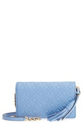 Tory Burch Fleming Leather Wallet Crossbody Blue Larkspur