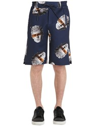 Trussardi Printed Neoprene Satin Shorts