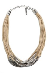 Lafayette 148 New York Multistrand Statement Necklace Parchment
