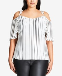 City Chic Trendy Plus Size Striped Off The Shoulder Top Ivory