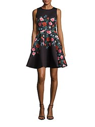 Erin By Erin Fetherston Suzie Multicolor Floral Print A Line Dress Black Multicolor