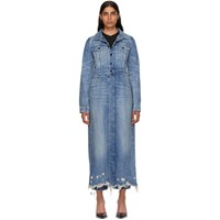 Alexander Wang Indigo Denim Fitted Trench Coat