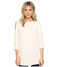 Michael Stars Lycra Jersey 3 4 Sleeve Cold Shoulder Tunic Chalk Women's Long Sleeve Pullover White