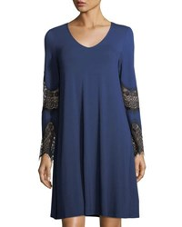 Neiman Marcus Lace Inset V Neck Swing Dress Blue