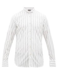 The Gigi Harvey Striped Cotton Blend Shirt White Navy