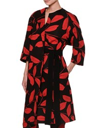 Marni 3 4 Sleeve Printed Duster Coat Red Black Women's