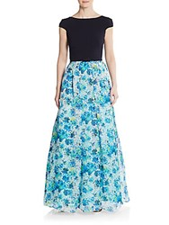 Theia Blocked Floral A Line Gown