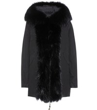 Mr And Mrs Italy Cotton Parka With Fur Lining Black