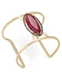 Inc International Concepts Gold Tone Hematite Pave And Dark Pink Stone Open Cuff Bracelet Only At Macy's