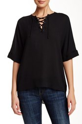 Zoa Elbow Sleeve Lace Up Blouse Black