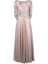 Talbot Runhof Metallic Draped Long Dress Pink