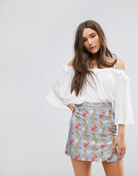 Traffic People Off The Shoulder 3 4 Sleeve Top White