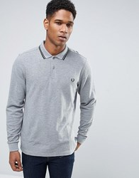 Fred Perry Slim Long Sleeve Polo Shirt Pique Twin Tipped In Grey Marl Steel Marl
