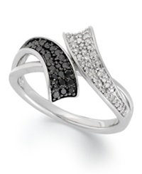 Macy's Sterling Silver Ring Black 1 6 Ct. T.W. And White Diamond 1 10 Ct. T.W. Bypass Ring