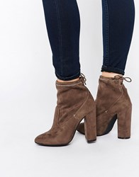 Public Desire Jenna Tie Back Black Heeled Ankle Boots Taupe Suede Grey