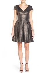 Women's Vince Camuto Cap Sleeve Metallic Jacquard Fit And Flare Dress
