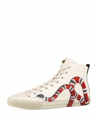 Gucci Major Snake Print Leather High Top Sneaker White