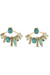 Elizabeth Cole Hyde Gold Plated Swarovski Crystal And Stone Earrings Turquoise