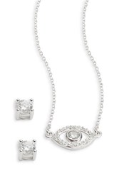 Lord And Taylor Sterling Silver Cubic Zirconia Evil Eye Earring Necklace Set