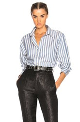 Isabel Marant Manray Shirt In Blue Stripes Blue Stripes