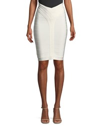 Herve Leger Bandage Knit Above The Knee Body Con Skirt White