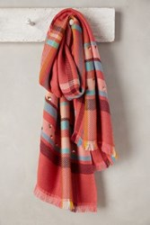 Anthropologie Jeweled Plaid Scarf Coral